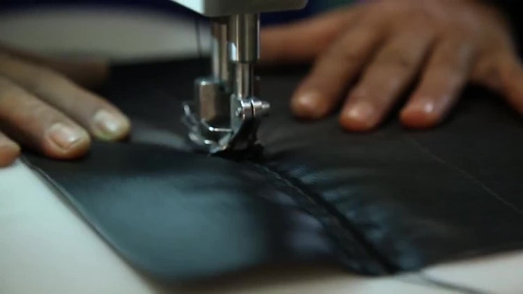 Sewing Leather With Machine: Stock Video