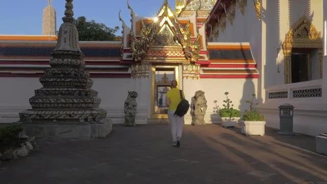 Woman Touring The Marble Temple : Stock Video