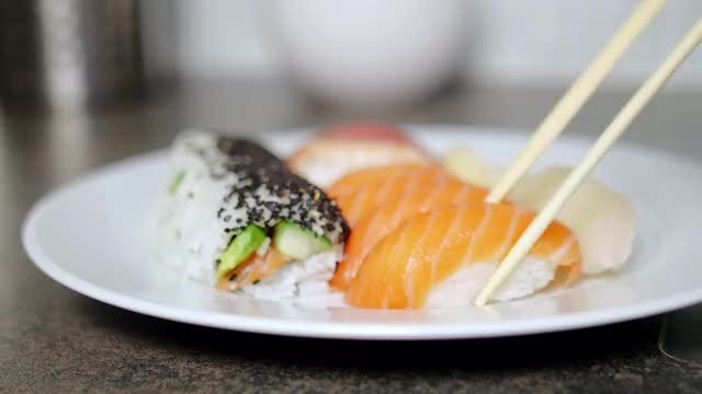 Serving Sushi Healthy Food: Stock Video