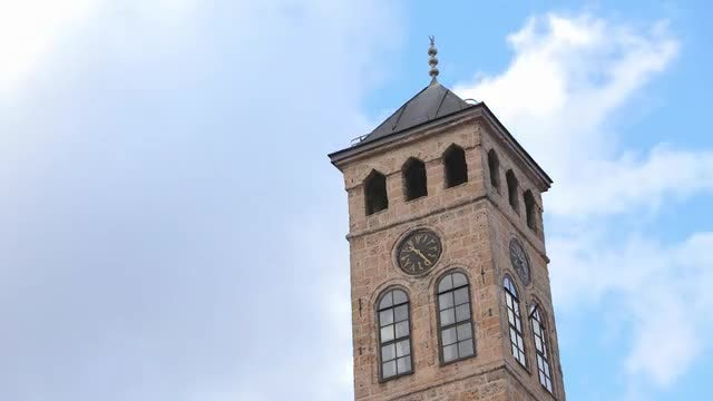 Ottoman Clock Tower In Sarajevo: Stock Video