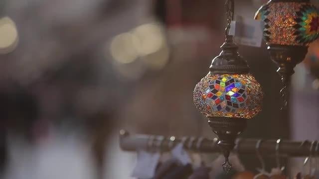 Closeup  Shot Of Souvenir Lamp: Stock Video