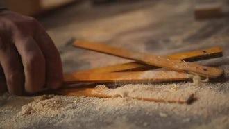 Old Carpenter Needs Measuring Stick: Stock Video