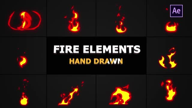 Cartoon Fire Elements: After Effects Templates