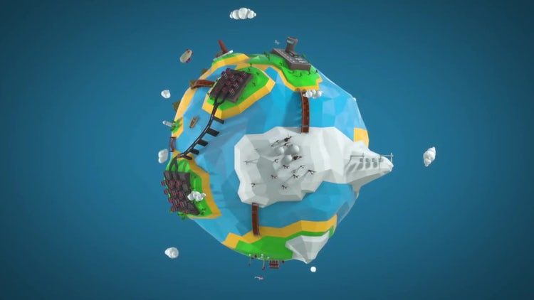 Low Poly Cartoon Earth: Motion Graphics