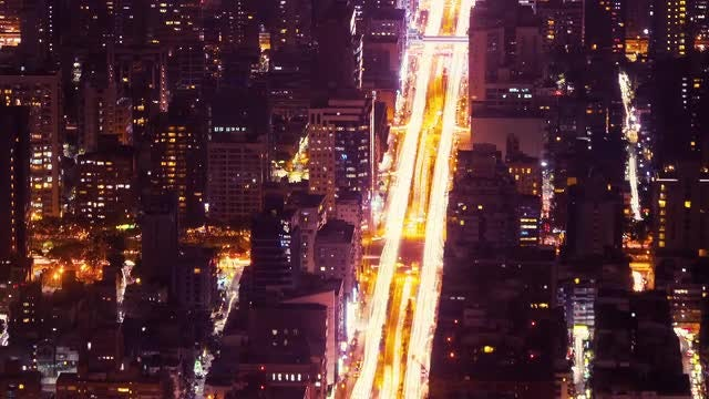 Big Night City Traffic Timelapse: Stock Video