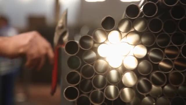 Steel Pipes: Stock Video