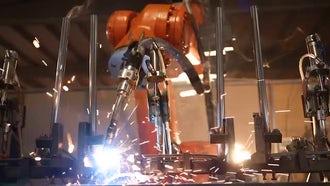 Busy Industrial Welding Robot : Stock Video