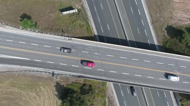 Vehicles Crossing On Overpass: Stock Video