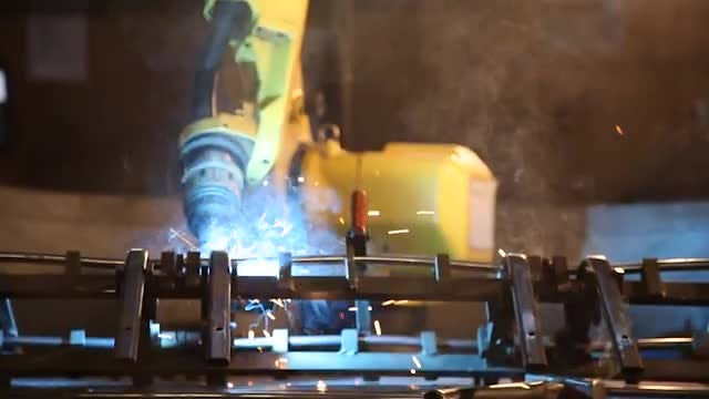 Industrial Welding Robot: Stock Video
