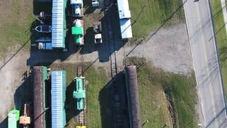 Train Yard Aerial View: Stock Video