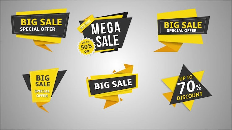 11 Flat Sale Label v.2: After Effects Templates