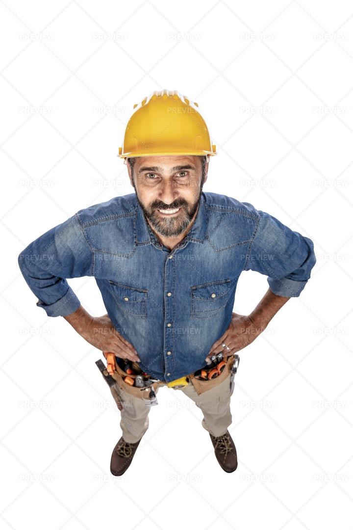 Mature Handyman, Top View: Stock Photos