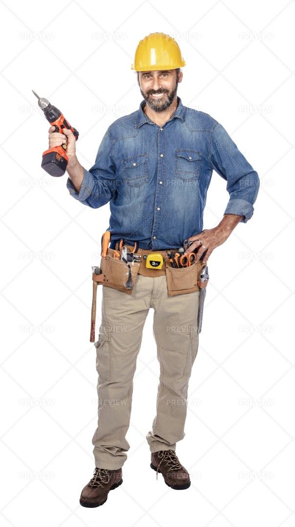 Handyman Isolated On White: Stock Photos