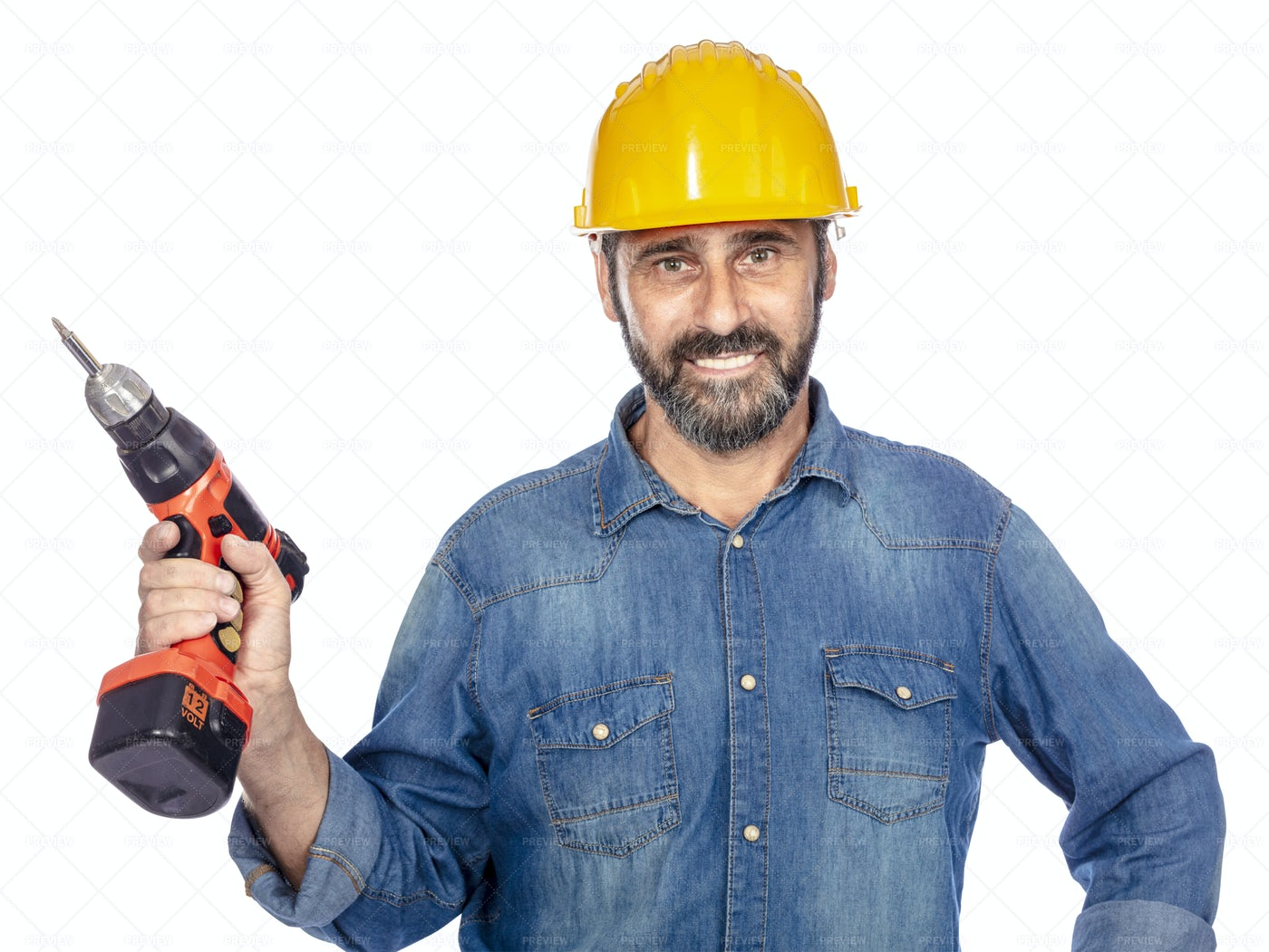 Man With Electric Grill: Stock Photos