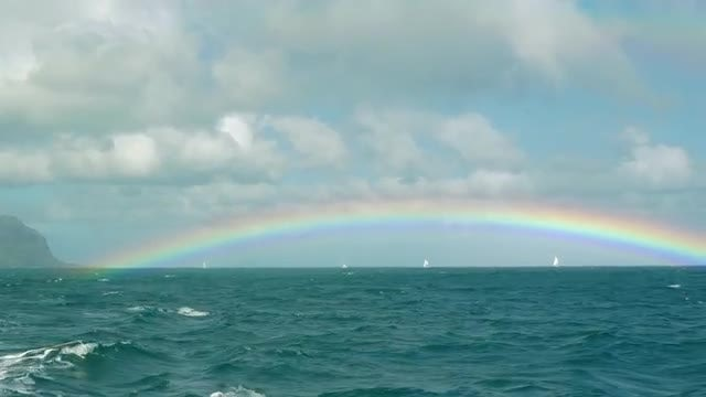 Rainbow Over The Blue Ocean: Stock Video