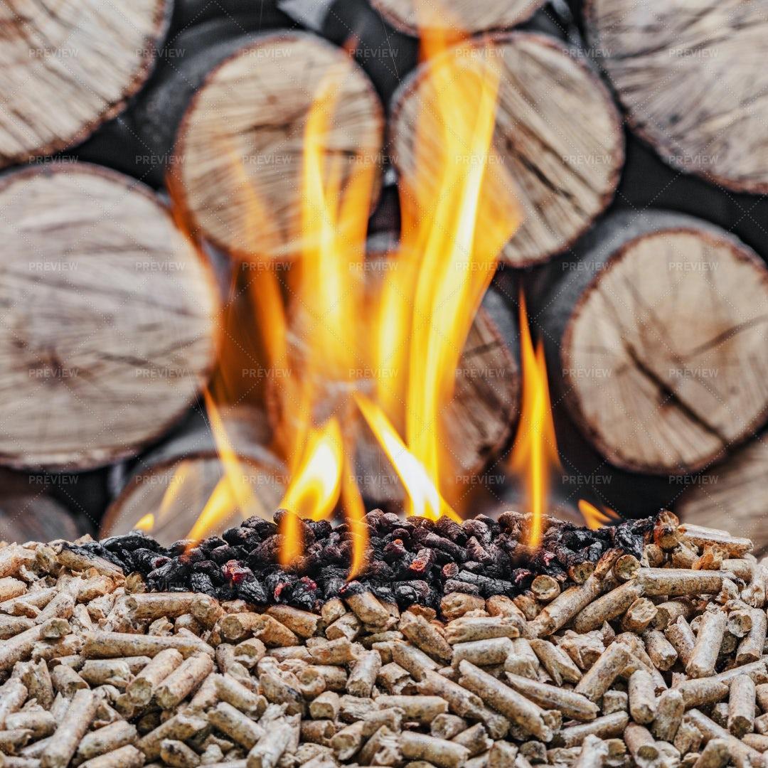 Wood Pellet Burning: Stock Photos