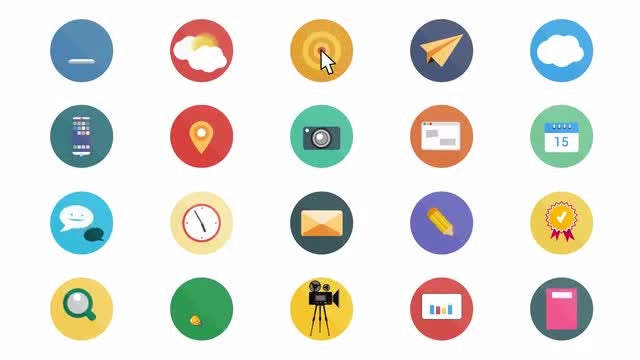 Flat Animated Icons: Motion Graphics Templates