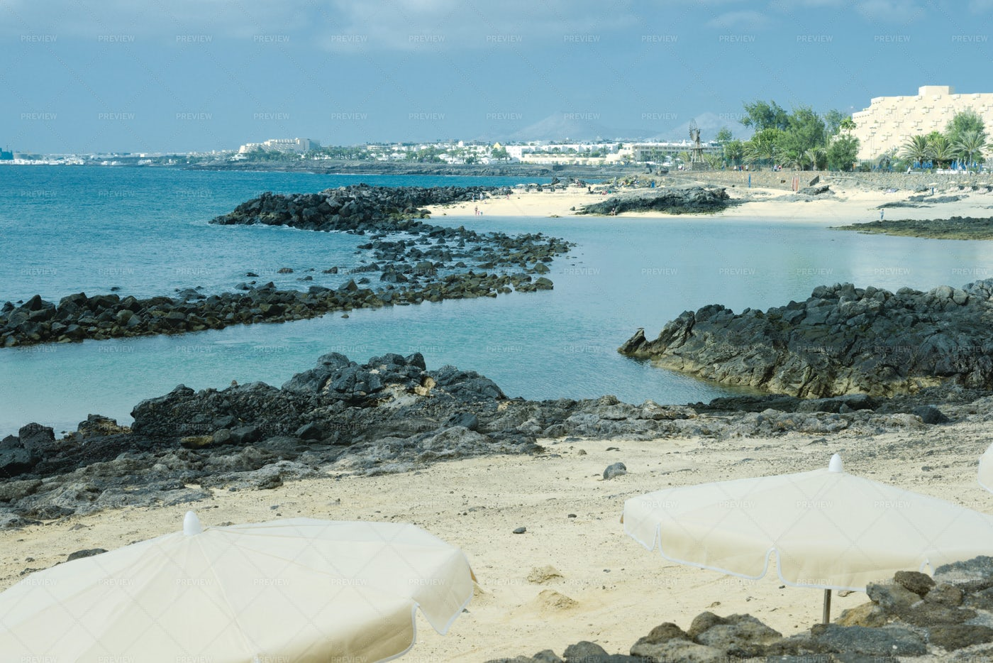 Black Rocks On Beach: Stock Photos