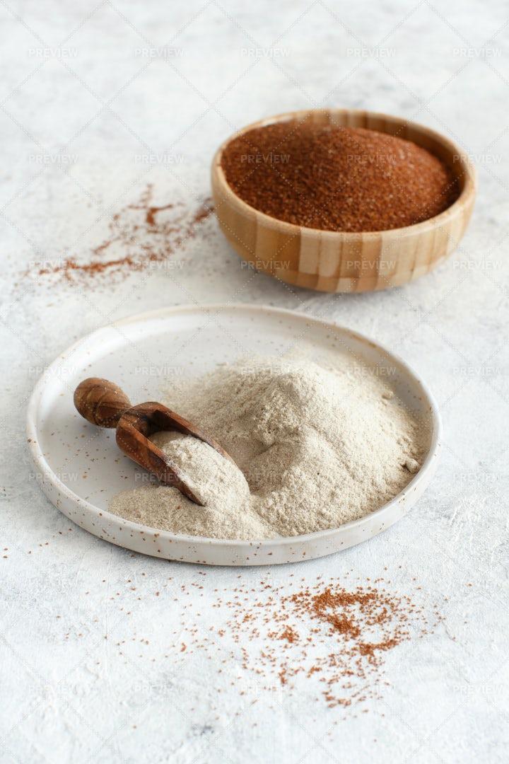 Teff Flour And Grain: Stock Photos