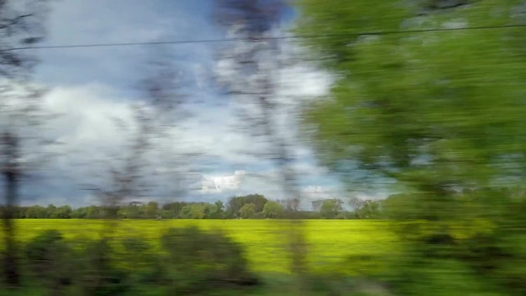 Train View Through The Countryside: Stock Video