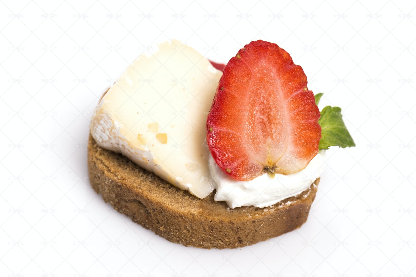 Cheese And Strawberry Canape: Stock Photos