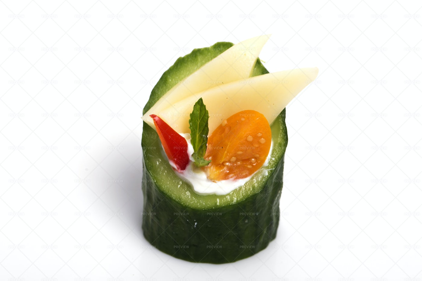 Cucumber And Cheese Canapes: Stock Photos