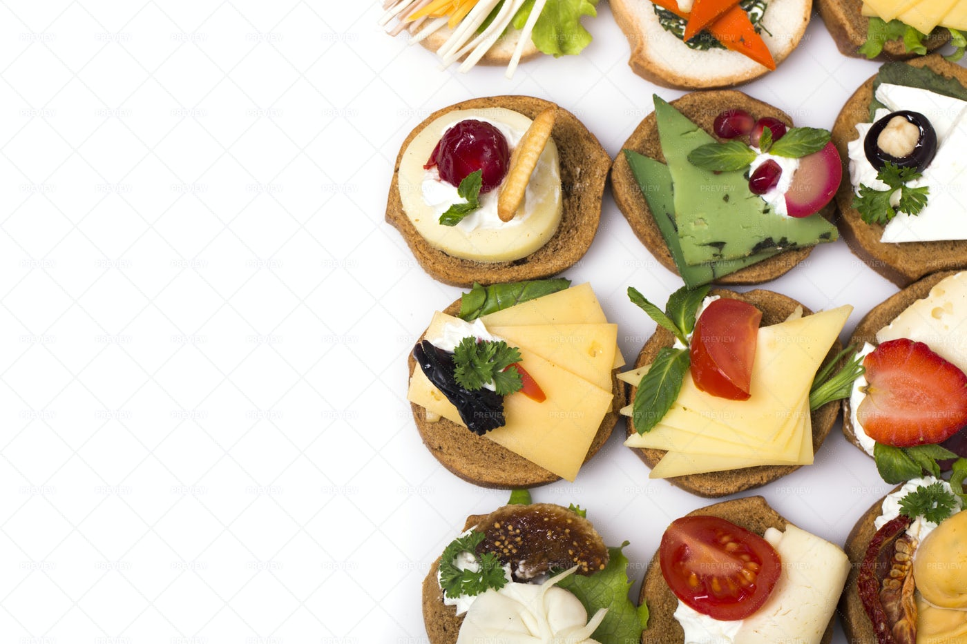 Assortment Of Tasty Canapes: Stock Photos
