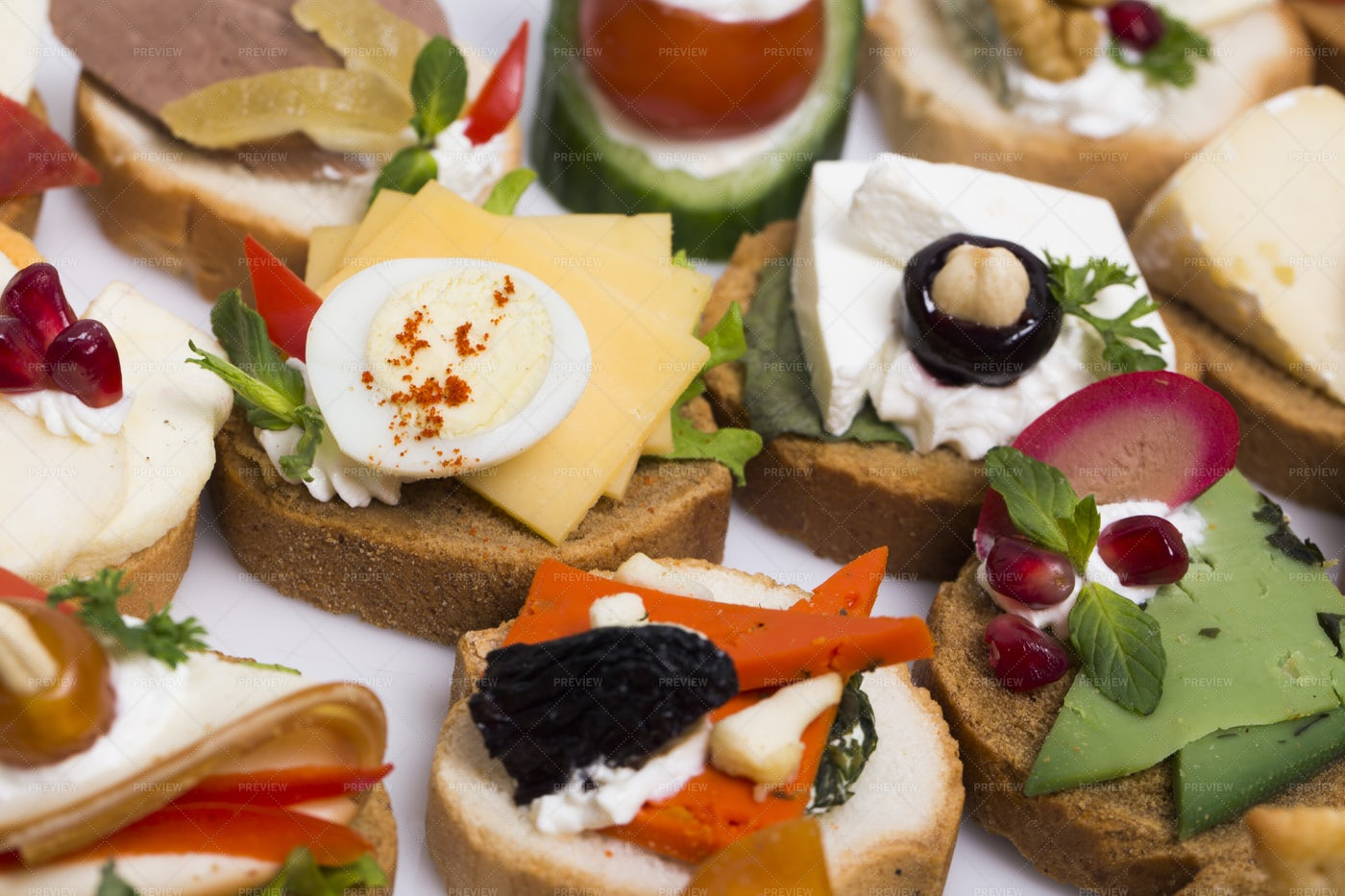 Canapes With Cheese And Veg: Stock Photos