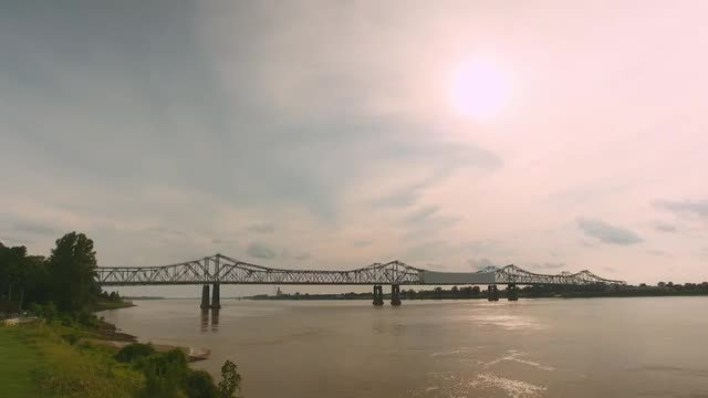 Bridge On Expansive Mississippi River : Stock Video