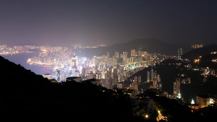 Hong Kong Day To Night Time Lapse: Stock Video