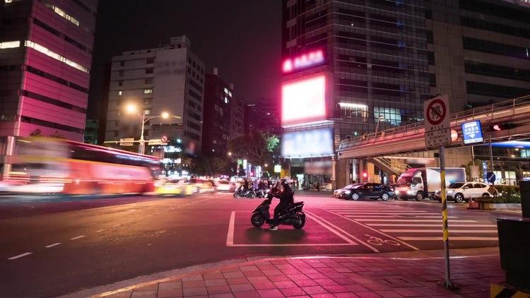 City Night Traffic Time Lapse: Stock Video