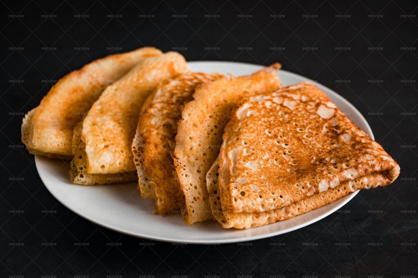 Thin Pancakes On A Plate: Stock Photos