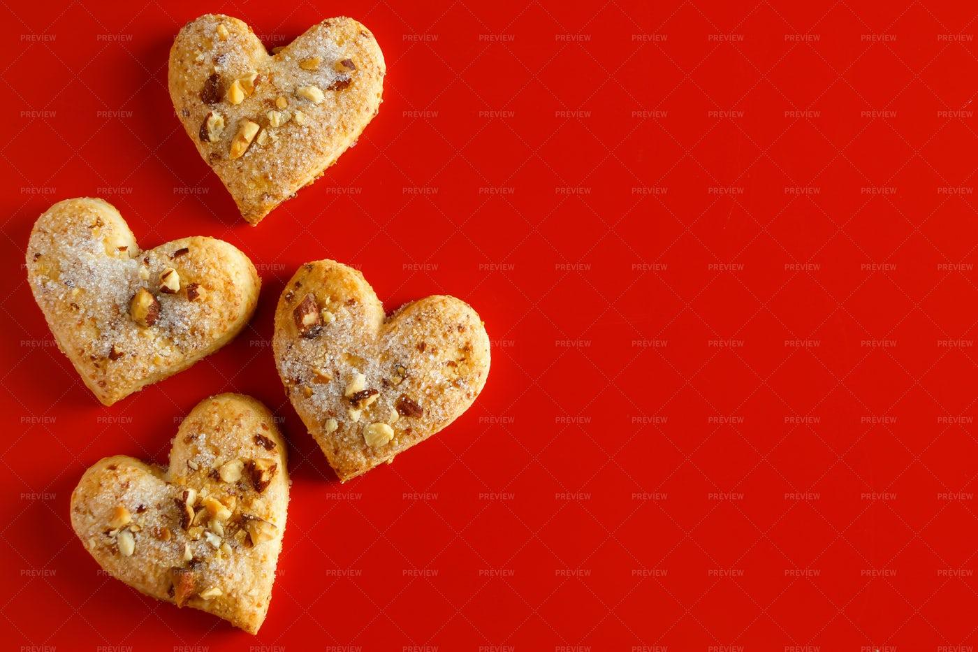 Heart Shaped Sugar Cookies: Stock Photos
