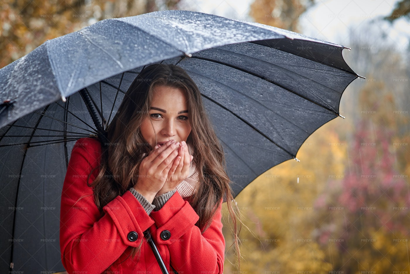 Woman Under Umbrella.: Stock Photos