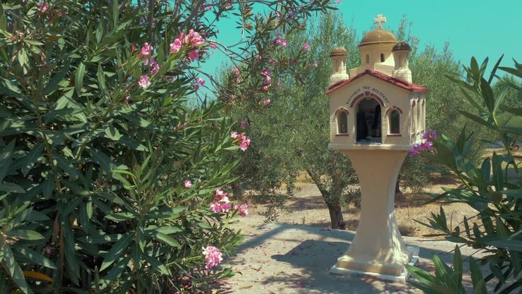 Traditional Memorial Chapel In Greece: Stock Video