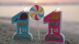 Twins' 1st Birthday Candles: Stock Video