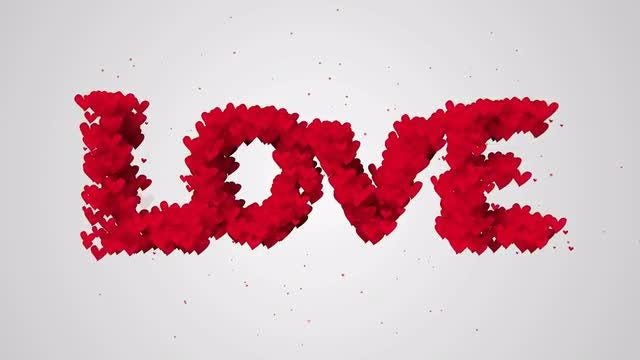 Heart-shaped Love Typography : Stock Motion Graphics