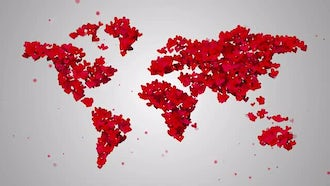 World Map Shaped By Hearts: Motion Graphics