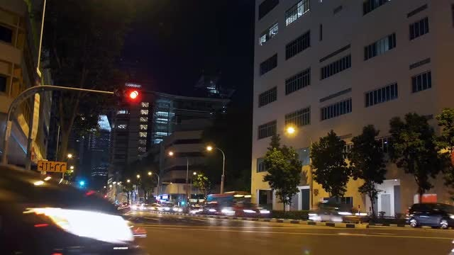 Singapore Night Traffic Timelapse: Stock Video