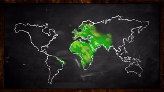 Sketch of Green World Map : Motion Graphics