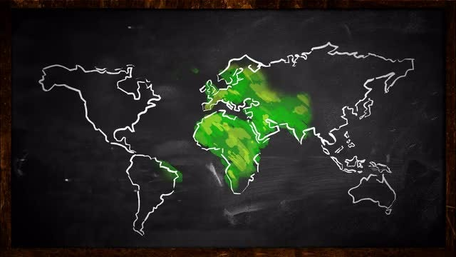 Sketch of Green World Map : Stock Motion Graphics