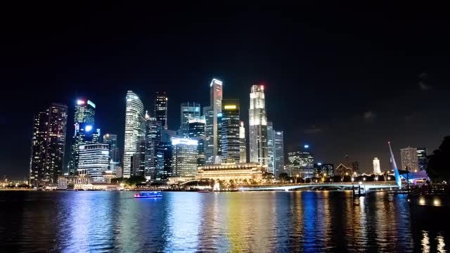 Singapore City Night Time Lapse 4k: Stock Video