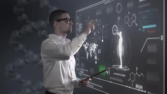 Hologram Panel Analyzed By Scientist: Stock Motion Graphics