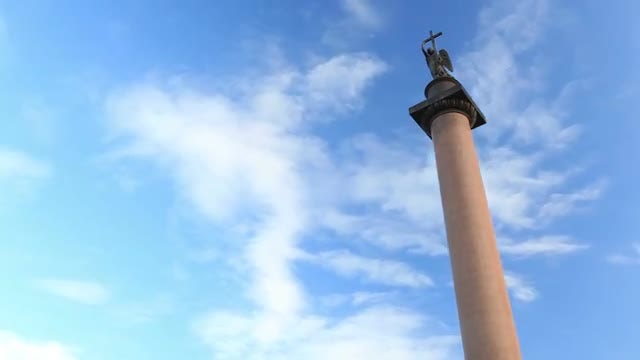 Alexander Column In St. Petersburg: Stock Video