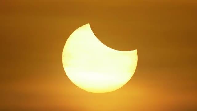 Partial Solar Eclipse Time Lapse: Stock Video
