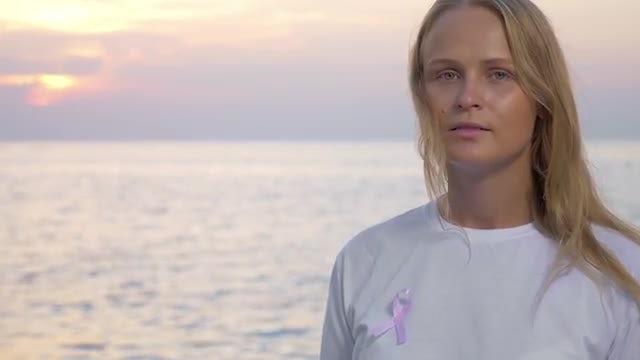 Woman With Pink Awareness Ribbon: Stock Video