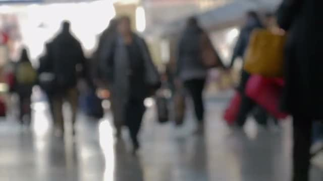 Crowd Walking At The Station: Stock Video