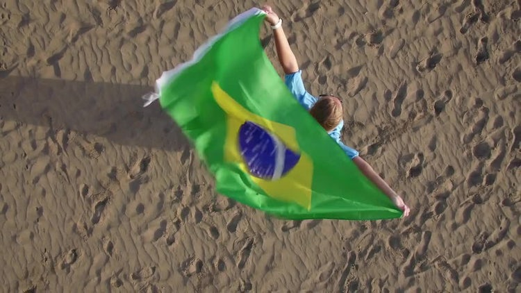 Woman With A Brazilian Flag: Stock Video