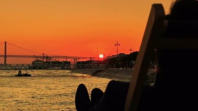 Wonderful Sunset In Lisbon, Portugal: Stock Video
