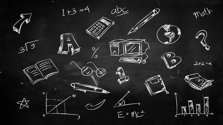 education chalkboard doodles stock motion graphics